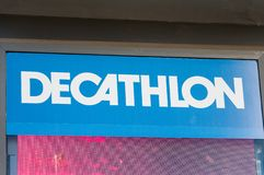 Decathlon logo on Decathlon store. MADRID, SPAIN - MAY 5, 2019. Decathlon logo on Decathlon store. Decathlon is a French sporting goods retailer royalty free stock photography