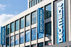 Decathlon sign at branch. Decathlon is a French sporting goods retailer, the largest sporting goods retailer in the world stock image