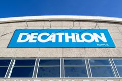 Decathlon sign at branch. Decathlon is a French sporting goods retailer, the largest sporting goods retailer in the world stock photo