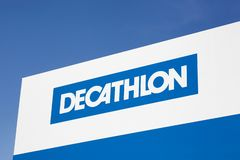 Decathlon sign on a panel. Saint Egreve, France - June 19, 2019: Decathlon sign on a panel. Decathlon is a french company and one of the world`s largest sporting royalty free stock photography