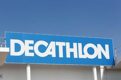 Decathlon sign on a wall. Limonest, France - July 19, 2018: Decathlon sign on a wall. Decathlon is a french company and one of the world`s largest sporting goods royalty free stock photography