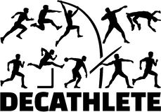 Decathlon silhouette of athletics Stock Photography