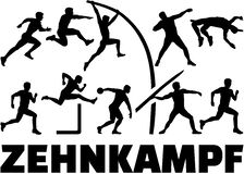Decathlon silhouette of athletics german Stock Images