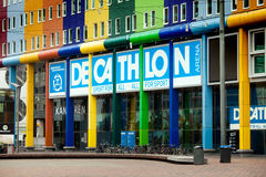 Decathlon sport store in Amsterdam city. Amsterdam, Netherlands - April, 2017: Decathlon sport store in Amsterdam city Stock Photos