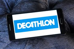 Decathlon sporting goods retailer logo. Logo of decathlon sporting goods retailer on samsung mobile. Decathlon is a French sporting goods retailer, the largest stock photography