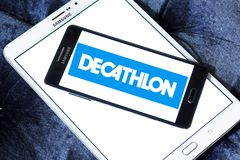 Decathlon sporting goods retailer logo. Logo of decathlon sporting goods retailer on samsung mobile. Decathlon is a French sporting goods retailer, the largest royalty free stock images