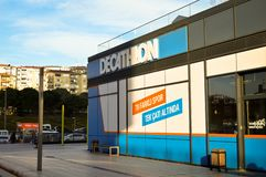 Decathlon store sells materials related to 70 different sports. Istanbul Maltepe, store entrance. Decathlon store, located in Maltepe, Istanbul, sells 70 stock photography