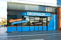 Decathlon store sells materials related to 70 different sports. Istanbul Maltepe, store entrance. Decathlon store, located in Maltepe, Istanbul, sells 70 royalty free stock images