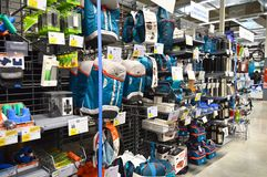 Decathlon store sells materials related to 70 different sports. Camping supplies section. Decathlon store, located in Maltepe, Istanbul, sells 70 different stock photography