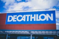 Decathlon store in Saint-Quentin France, the 23/08/2018. Store sign Decathlon store in Saint-Quentin France, the 23/08/2018 stock photo