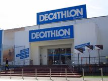 Decathlon store in slovenia ljubljana. LJUBLJANA, SLOVENIA - MARCH 22 2019: Decathlon sign on a wall. Decathlon is a french company and one of the world`s royalty free stock image