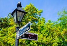 Decatur-Straßenschild stockbilder