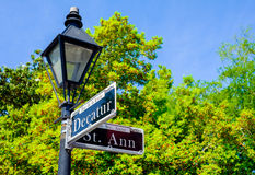 Decatur street sign. In the French Quarter in New Orleans, Louisiana Stock Images