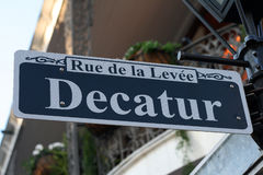 Decatur Street Sign in New Orleans. Rue de la Levee, Decatur Street Sign in New Orleans, Louisiana USA stock image