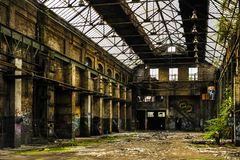 Decay industrial building inside view stock photo