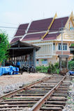 Decay railway line. In front of the temple,Thailand Royalty Free Stock Photos