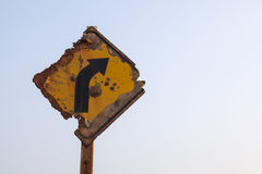 Decay traffic sign. Beside the beach because of salt vapour Stock Photography