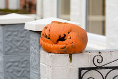 Decayed halloween pumpkin Royalty Free Stock Photos