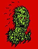 Decayed head of zombie. Vector illustration. Royalty Free Stock Photos