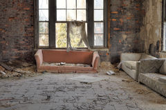 Decayed living room Royalty Free Stock Image