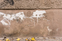 Decayed outside wall, brown foundation with white color splashes Royalty Free Stock Photos