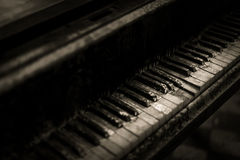 Decayed Piano Keys. A piano that has not been played in a very long time Royalty Free Stock Photography