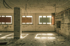 Decayed room with safe windows Royalty Free Stock Photography