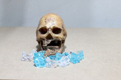 Decayed teeth human skull with candy on wood background. like a people eating candy too much. Stock Photo