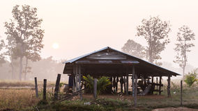 A Decayed Thai Farmhouse in the Dawn. A Decayed Hut of Thai Farmer with Rising Sun in The Dawn Stock Photos