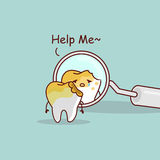 Decayed tooth with dentist mirror royalty free illustration