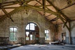 Decaying building prewar railway station Stock Photos