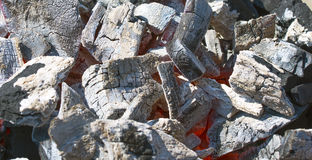 Decaying coals. For meal preparation stock photos