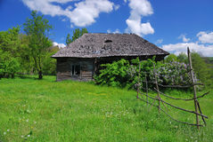 Decaying old house. Old wooden house in countryside surrounded by vegetation on a green filed Royalty Free Stock Images