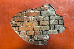Decaying old red brick wall Royalty Free Stock Images