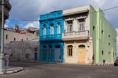 Decaying and renovated buildings in Old Havana City,  Cuba. Havana,Cuba - January 22,2017: Decaying and renovated buildings on the main street in Old Havana City Royalty Free Stock Photos
