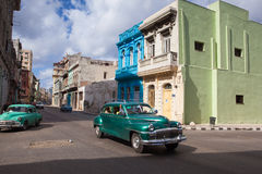 Decaying and renovated buildings in Old Havana City,  Cuba Royalty Free Stock Photo