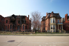 Decaying residential houses in Detroit, Michigan. US Royalty Free Stock Photos