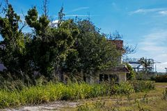Overgrown Abandoned All-Inclusive Resort In Cayo Coco, Cuba. This decaying resort started out as the El Senador then became the Emperador. It last welcomed stock photography