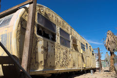 Decaying trailer in bombay beach california. Vintage trailer remains in bombay beach ghost town in california usa Royalty Free Stock Images