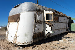 Decaying vintage trailer in bombay beach ghost town california Stock Photos