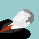 Deceased isolated. Illustration of dead man in suit. Dead busine Stock Image