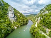 Decebal Head sculpted in rock, Danube Gorges (Cazanele Dunarii). Romania. Aerial view Royalty Free Stock Photos
