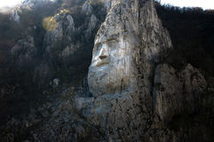 Decebal's head carved in rock in Romania Royalty Free Stock Photography