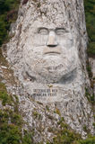 Decebalus rock statue. The Statue of Dacian king Decebalus is a 40-meter high statue that is the tallest rock sculpture in Europe. It is located on the Danube&# royalty free stock image