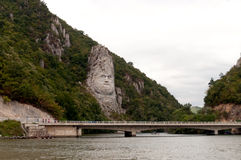 Decebalus rock statue. The Statue of Dacian king Decebalus is a 40-meter high statue that is the tallest rock sculpture in Europe. It is located on the Danube&# royalty free stock photo