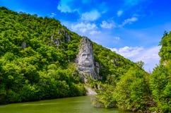 Decebalus und die Donau Stockfotos