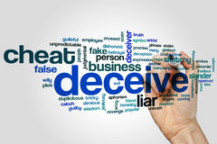 Deceive word cloud concept on grey background Stock Image