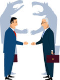 Deceiving businessmen. Two smiling businessman shaking hands, wolves shadows on the background,  cartoon Stock Photos