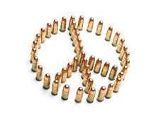 Deceiving peace. Peace symbol formed by bullets over white background, useful for themes such as peace,war,terrorism,military Stock Images