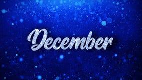 December önskar blå text partikelhälsningar, inbjudan, berömbakgrund